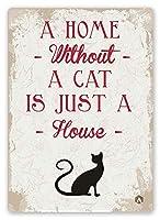2個 猫家のスタイルのパブの家の装飾金属錫サイン 30*20 CM
