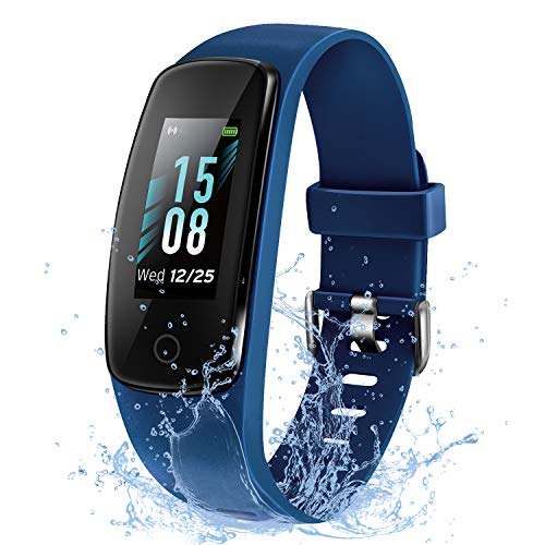 ETEKCITY Fitnesstracker, smartwatch waterdicht IP68, fitnessarmband met hartslagmeter, activiteitstracker, hartslaghorloge, stappenteller, horloge, blauw