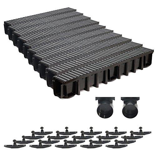 10m Entwässerungsrinne 148mm B125 Einlaufkasten Stegrost Kunststoff inkl. Zubehör (schwarz)