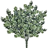 Ruiuzi eucalipto de imitación hojas de eucalipto en aerosol artificial tallos de vegetación artificiales de plata falsa ramas de eucalipto plantas en verde polvoriento(verde, 2 unidades)