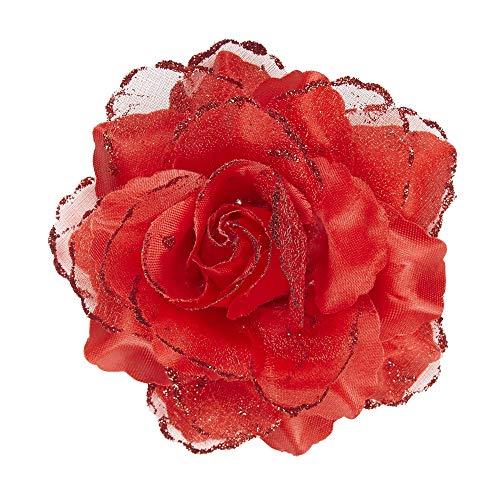 Widmann 04121 04121-Haarspange, mit roter Rose und Glitter, Haarclip, Haarschmuck, Mottoparty, Dia de los Muertos, Karneval, Damen, mehrfarbig, Donna: Taglia unica