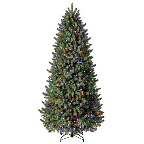 Evergreen Classics 7.5 ft Pre-Lit Vermont Spruce Quick Set Artificial Christmas Tree, Remote-Controlled Color-Changing LED Lights