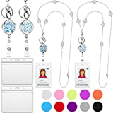 2 Pieces Retractable Badge Reel Lanyard with ID Holder for Women Essential Oil Diffuser Lanyard Stainless Steel Beaded Chain Badge Holder Necklace with 4 Pieces Waterproof Badge Holders