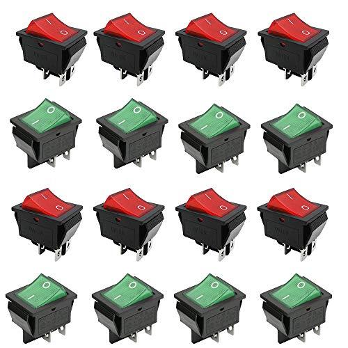 Interruptor Basculante ON-OFF DPST,16 Piezas 4 Pin DPST ON/Off,Interruptores AC 250V /6A 125V /10A,Encaje en El Interruptor Basculante del Barco,para Coche,Barco,Electrodomésticos