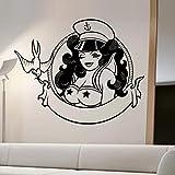 WERWN Hermosa Mujer Marinero Retrato Etiqueta de la Pared decoración del hogar...