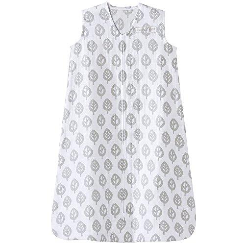 HALO 100% Cotton Muslin Sleep Sack Wearable Blanket, Grey Tree Leaf, Large