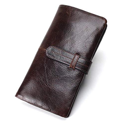 ZGRHZY portemonnee voor heren RFID-A-koppeling lange creditcard mannelijk hoesje voor mobiele telefoon, casual kleur chocolade