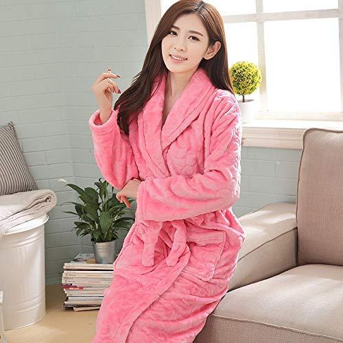Damen Winter Dicke Lange Flanell Bademäntel Coral Fleece Herren Bademäntel Home Service Pyjama Sojapulver M-Brown_160 (M)