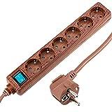 BeMatik - Regleta de enchufes 6 schuko 16A 250V madera con cable de 1.5m