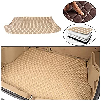 Maite Custom Car Trunk Mats for Volkswagen Polo Hatchback 2014-2018 Leather Car Boot Mats Waterproof Cargo Liner Protector Cover Beige