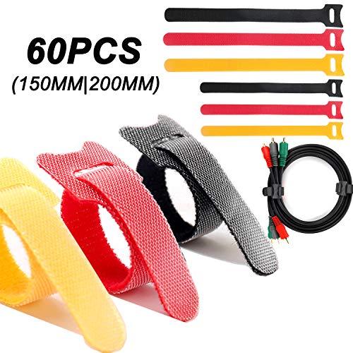 JTENG Fascetta Cavi,60pcs Fascette Fermacavi Riutilizzabili e Regolabili in per Cavi per Distinzione dei Segni di Colore(3 Colori,2 Dimensione)