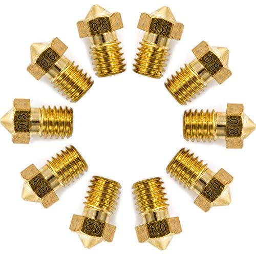 FEICK 3D Drucker Düsen/Nozzle für E3D Hotend (10 Stück) - 3D Drucker mit 1.75 Filament - M6 Gewinde - Für 3D Drucker z.B. Ender 3/5 / i3 Mega/Sidewinder