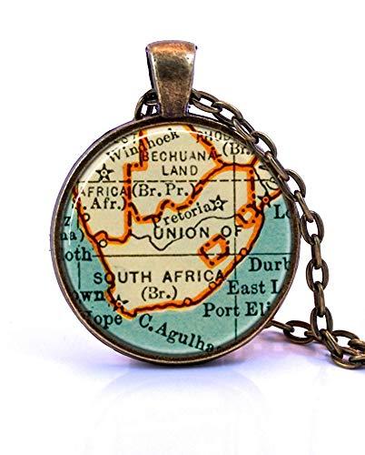 heng yuan tian cheng Zuid-Afrika Kaart Hanger Ketting, Gemaakt van een 1937 kaart. Kaart Sieraden, Kaart Ketting, Kaart Hangend, Aangepaste Sieraden, Gepersonaliseerde Sieraden