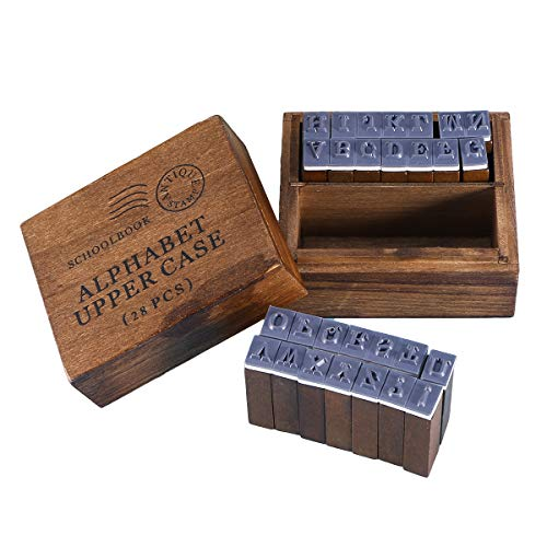 Toyvian Holz Antike Briefmarken Alphabet Dichtungen Retro Briefmarken mit Aufbewahrungsbox für Tagebuch Album DIY Briefmarken Hand Konto 28 stücke (Großbuchstaben Stil)