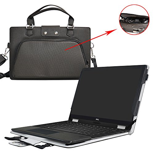"XPS 13 2-in-1 9365 Case,2 in 1 Accurately Designed Protective PU Leather Cover + Portable Carrying Bag for 13.3"" Dell XPS 13 2-in-1 9365 Series Laptop(Not fit XPS 13 9360 9350),Black"
