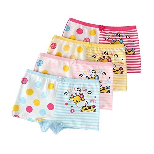 FAIRYRAIN FAIRYRAIN Baby Kleinkind Mädchen Cartoon Pantys Hipster Shorts Spitze Baumwollunterhosen Unterwäsche 4 Packung
