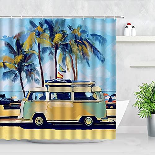 DuschvorhangVintage Bus Retro Surf Auto Palmen Möwe Grafik Duschvorhänge Wasserdicht Polyester Stoff Bad Vorhang Haken