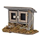Casa de pollo, gallinero en miniatura exquisito ecológico, para casa de muñecas 1/12 Accesorio de jardín para casa de muñecas Regalo para niños pequeños