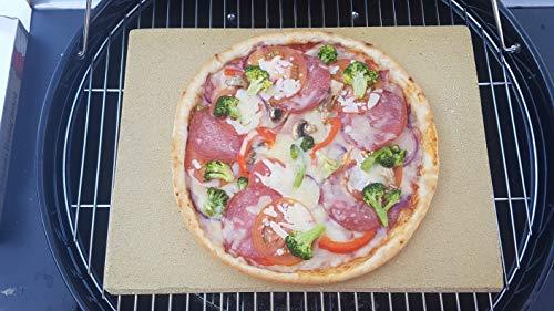 Pizzastein Pizzaplatte Bearbeitet 40 x 30 x 4 cm Backofenplatte Brotbackplatte Flammkuchen Platte echte deutsche Schamotte Nachbearbeitet per Hand ohne scharfe Kanten für Backofen Herd und Grill…