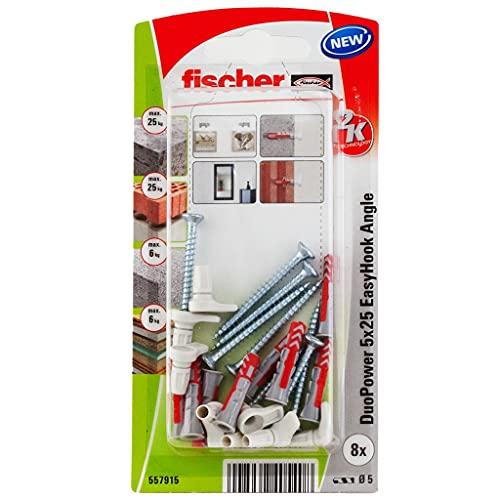 fischer 557915 EasyHook Alcayata DuoPower 5x25, Pared, Tacos y Tornillos, Colgar lámparas, Pac de 8 uds, Blanco