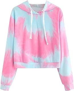 Kstare Women's Hoodie Sweatshirts Teen Girls Casual Long Sleeve Tie-Dye Crop Hooded Jumper Pullover Blouse Tops Shirts