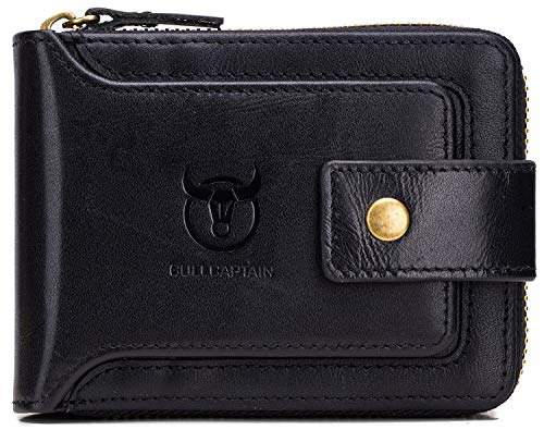BULLCAPTAIN Men Zipper Around Wallet Genuine Leather RFID Blocking Bifold Large Capacity Coin Purse with ID Window 1