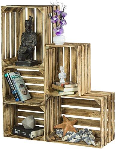 LAUBLUST 5er Set Vintage Holzkisten - Kisten in 2 Größen, 50x40x30cm / 40x30x25cm, Geflammt, Neu, Unbenutzt | Möbel-Kiste | Wein-Kiste | Obst-Kiste | Apfel-Kiste | Deko-Kiste aus Holz