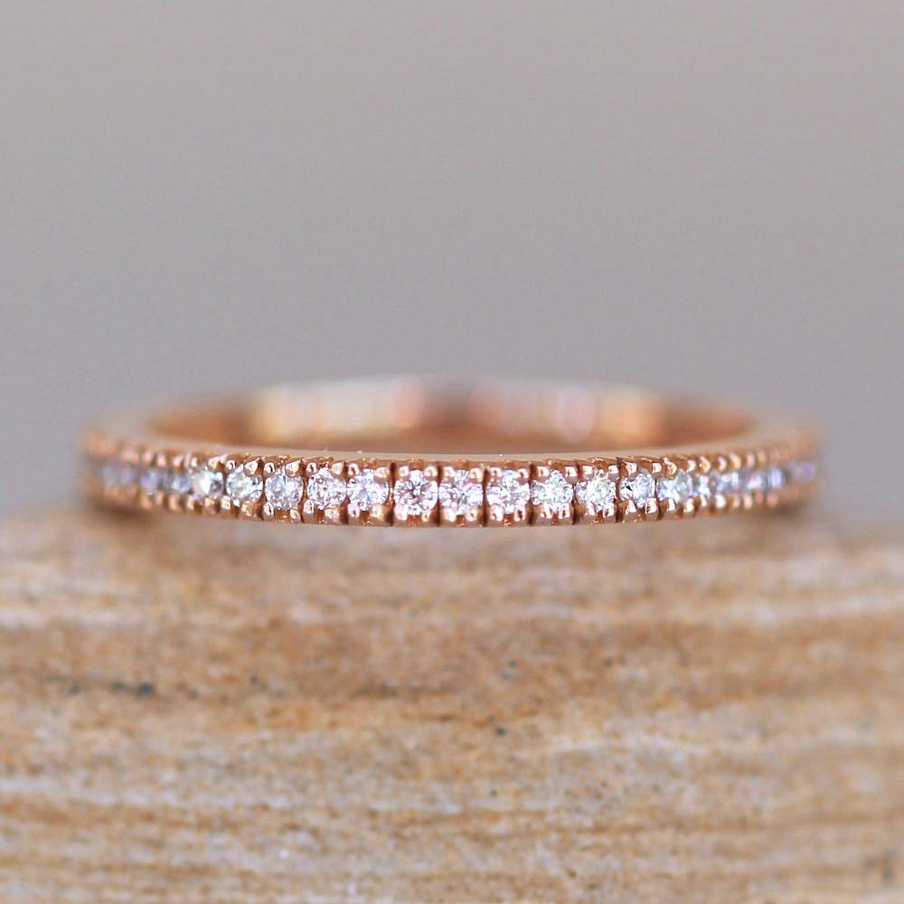 Classic Diamond Wedding Band Full Eternity in Gold Mesa Mall Solid gift Ring -