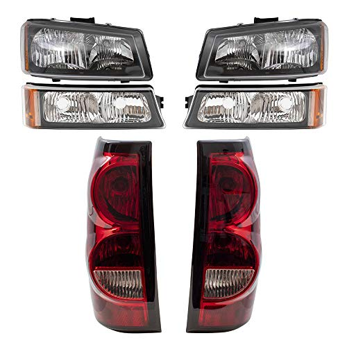 Brock Replacement 6 Pc Headlights Tail Lights & Park Signal Lamps Compatible with 2004-2006 Silverado Fleetside Pickup