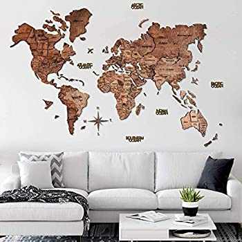 Home Decor 3D Wood World Map Wall Art Large Wall Decor - World Travel Map All Sizes  M L XL XXL  Any Occasion Gift Idea - Wall Art For Home & Kitchen or Office