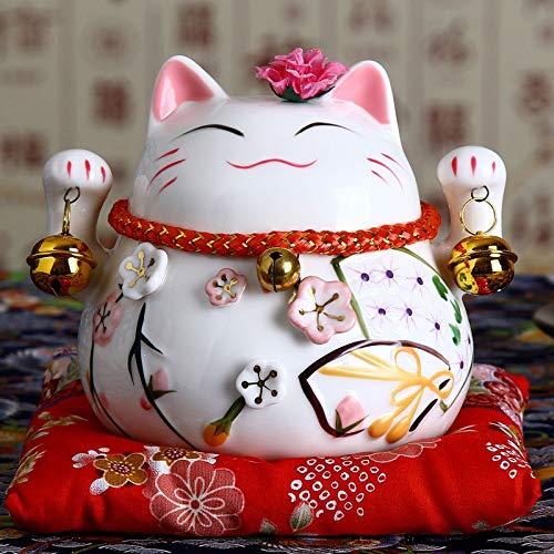 XKMY Chat porte-bonheur japonais Maneki Neko en céramique - Décoration de maison - Cadeaux d'entreprise - Tirelire - Feng Shui - Artisanat (couleur : C)