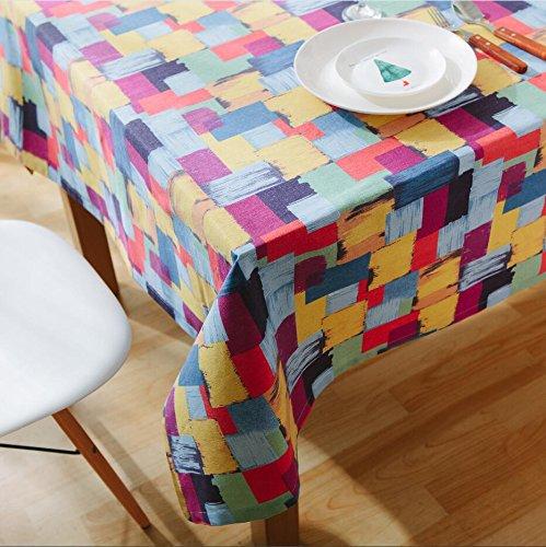 XXDD Mantel de impresión de cuadrícula de Parche Cuadrado de Color Mantel de Pintura al óleo Lavable Mantel Impermeable y a Prueba de Polvo A1 140x160cm