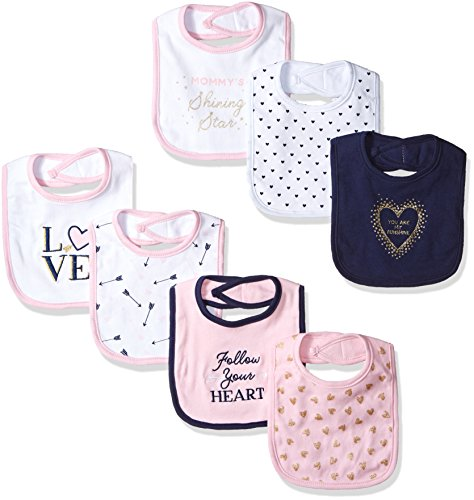 Hudson Baby Unisex Baby Cotton Bibs, Love, One Size