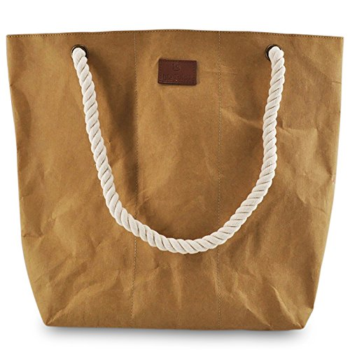Lila Tulpe - Shopper Holly - Damen Handtasche, Schultertasche, Einkaufstasche aus Waschbaren Papier mit Lederoptik in braun - Trend Accessoire aus Papier