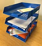 OfficeForce - Juego de 3 bandejas para archivar cartas y elevadores de escritorio, color azul - Set incluye OfficeForce Jotter Pad (ver inserción)