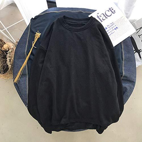T Shirts Manches Longues,Les Hommes De Couleur Pure Style Hong Kong Décontracté Col Rond Noir Sauvage,Tee Shirt De Sport Quick-Drying Respirant Vêtements D'Affaires Chandail Tricoté Veste Stretch