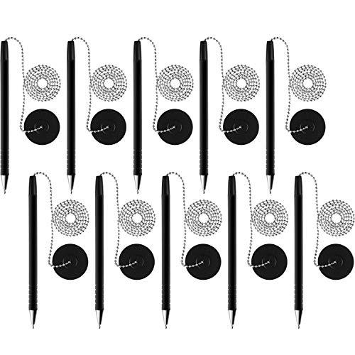 10 Piezas Bolígrafos con Cadena de Bolígrafo Adhesivo y Soporte de Seguridad para Hogar Oficina (Tinta Negra)