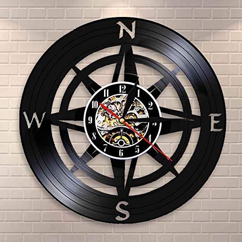 BFMBCHDJ Kompass Wandkunst Modernes Design Wanduhr Navy Home Decor Schallplatte Wanduhr Nautische Kompassuhr Wanduhr