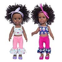 35cm / 14インチの黒いアフリカの女の子の人形誕生日にぴったりの子供のための全身の柔らかいシリコーンを備えたリアルな赤ちゃんの遊び人形(J)