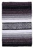 El Paso Designs Mexican Yoga Blanket   Colorful Falsa Serape   Park Blanket, Yoga Towel, Picnic, Beach Blanket, Patio Blanket, Soft Woven Saddle Blanket, Boho Home Décor (Black and Gray)
