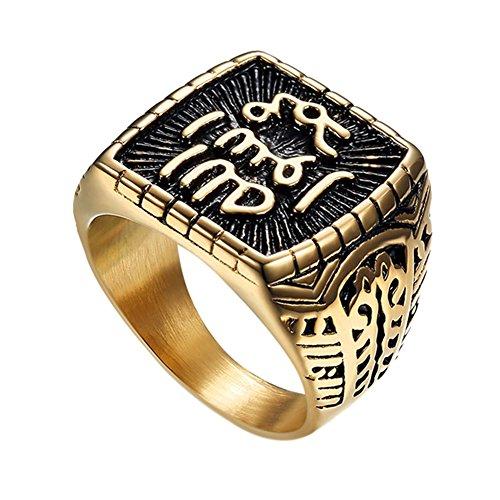 Fengteng Quadrat-Form Allah Ring Band Arabisch Islamisch Moslem Religiös Fingerring Gold Schwarz Farbe Herren Muslim Schmuck Amulett Koran Heiligen Geschenk (54 (17.2))