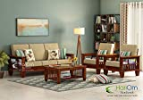 Hariom Handicraft Solid Sheesham Wood Sofa Set | Wooden Sofa Set | Living Room Furniture (3+1+1, Brown)