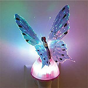 Fiber Optic Butterfly Colorful Changeable LED Wall NightSense Control Led Light Lamp for Children 110v-220v Romantic Holiday Wall nightlight