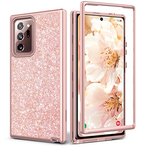 Coolwee Glitter Full Protective Case for Galaxy Note 20 Ultra 5G Heavy Duty Hybrid 3 in 1 Rugged Shockproof Women Girl Rose Gold for Samsung Galaxy Note 20 Ultra 6.9 inch Shiny Bling Sparkle