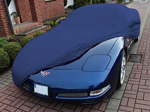 AMS Vollgarage Mikrokontur® Blau mit Spiegeltaschen für Chevrolet Corvette C5, schützende Autoabdeckung mit Perfekter Passform, hochwertige Abdeckplane als praktische Auto-Vollgarage