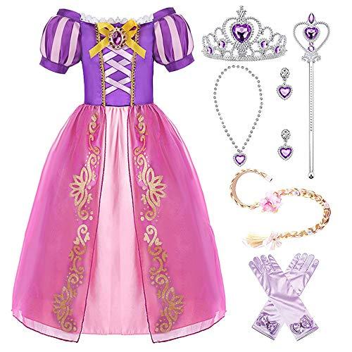 Hamanasu Rapunzel vestito da principessa Cosplay costume partito con accessori (viola01-4Y/110)