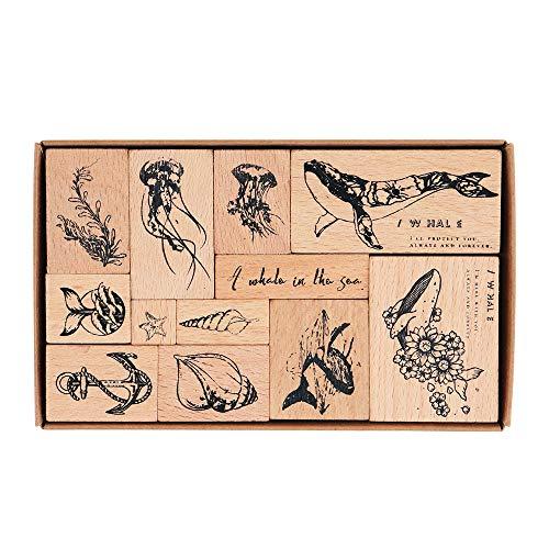 Hölzern Stempel Set, NogaMoga 12 Stück Stempel aus Holz mit Unter Meer Wal Motive, Ozean-Stil Dekorative Stempel für die Herstellung von Karten, Kunsthandwerk, Geschenken und DIY Scrapbooking