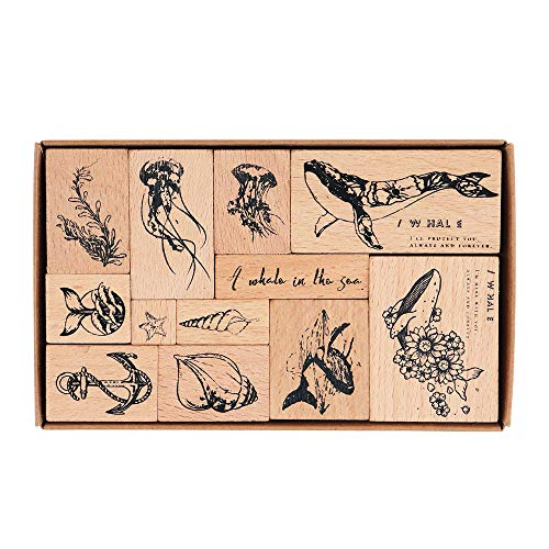 Wooden Rubber Stamps, NogaMoga 12pcs Marine Animal Patterns Rubber Stamp Set with 11 Sizes, Decorative Rubber Seal for Card, DIY, Paper Crafts, Bullet Journal, Photo Album, Hand Book
