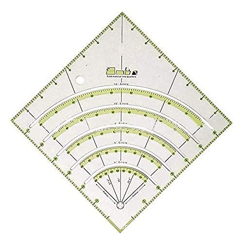 DealMux Quilting Linear, Arcs Fan Quilt Regla de sastre Regla de acolchado Regla de acrílico para quilters con dos líneas de colores