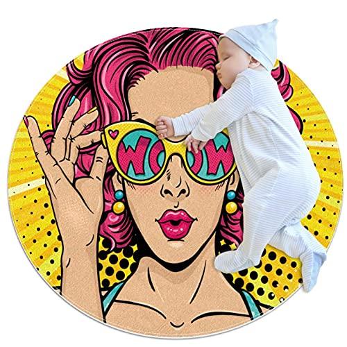 Alfombra Suave Redonda 70x70cm/27.6x27.6IN Alfombrillas Circulares Antideslizantes para el Suelo Alfombrilla para pie de Esponja Absorbente,Mujeres Calientes de Gafas de Sol